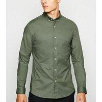 Khaki Long Sleeve Muscle Fit Shirt New Look