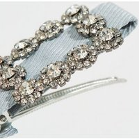 Pale Blue Ribbon Gem Buckle Hair Clip New Look