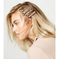 4 Pack Multicoloured Mixed Diamante Hair Slides New Look