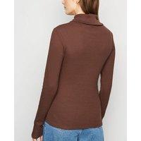 Dark Brown Ribbed Long Sleeve Roll Neck Top New Look