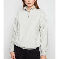 Pale Grey Zip Neck Fleece New Look