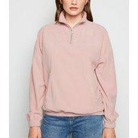 Pale Pink Zip Neck Fleece New Look