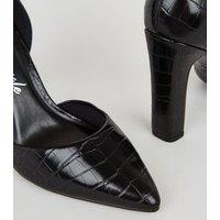 Wide Fit Black Patent Faux Croc Court Shoes New Look Vegan