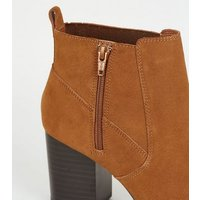 Wide Fit Tan Suede Pointed Block Heel Boots New Look