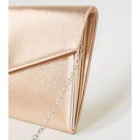 Rose Gold Leather-Look Asymmetric Clutch New Look Vegan