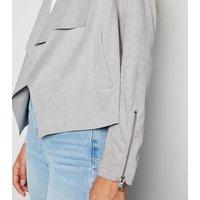 Urban Bliss Grey Suedette Waterfall Jacket New Look