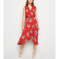 Red Floral Pleated Hanky Hem Midi Dress New Look