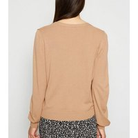 Camel Fine Knit Button Up Cardigan New Look