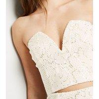 Cream Sequin Fishnet Notch Neck Crop Top New Look