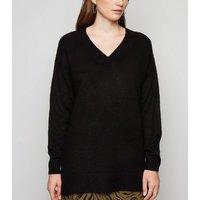 Black Knit Longline Jumper New Look