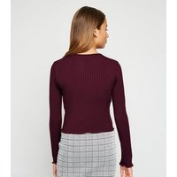 Girls Burgundy Frill Trim Long Sleeve T-Shirt New Look