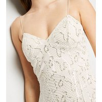 Cream Sequin Fishnet Bustier Midi Bodycon Dress New Look