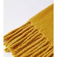 Yellow Tassel Trim Scarf New Look