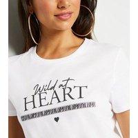 Petite White Wild at Heart Slogan Tape Trim T-Shirt New Look