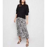 Maternity Black Animal Print Pleated Midi Skirt New Look