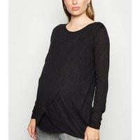 Maternity Black Long Sleeve Wrap Nursing Top New Look
