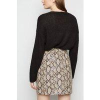 Brown Faux Snake Zip Mini Skirt New Look