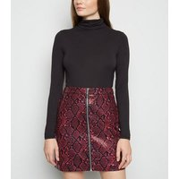 Red Faux Snake Zip Mini Skirt New Look