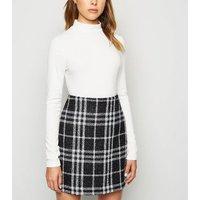 Black Glitter Check Mini Skirt New Look