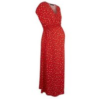Maternity Red Floral Shirred Waist Midi Dress New Look