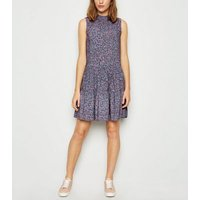 Purple Floral Frill Neck Smock Dress New Look