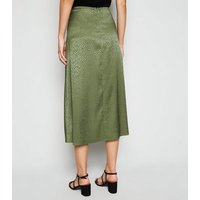 Khaki Satin Animal Print Jacquard Midi Skirt New Look