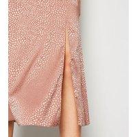 Mid Pink Satin Animal Jacquard Midi Skirt New Look