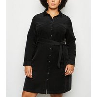 Curves Black Corduroy Belted Shirt Dress New Look