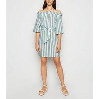 Urban Bliss Green Stripe Bardot Dress New Look