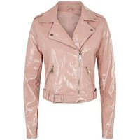 Urban Bliss Mid Pink Patent Biker Jacket New Look