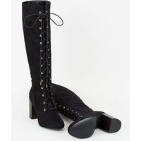 Black Suedette Lace Up Block Heel Boots New Look Vegan