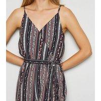 Apricot Black Folk Stripe Crop Jumpsuit New Look