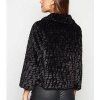 Mela Black Faux Fur Collared Jacket New Look