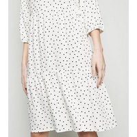White Spot Tiered Smock Dress New Look