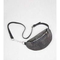 Black Diamante Chain Strap Bum Bag New Look