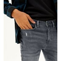 Men's Grey Ripped Super Skinny Stretch Jeans New Look