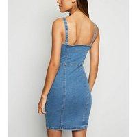 Blue Denim Button Up Bodycon Dress New Look
