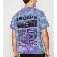 Purple Tie Dye Escape Slogan T-Shirt New Look