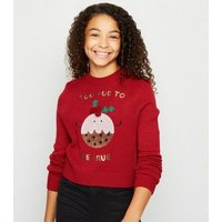 Girls Red Christmas Pudding Sequin Jumper New Look