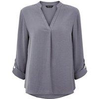 Dark Grey Herringbone Tab Long Sleeve Shirt New Look