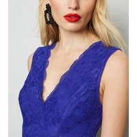 Blue Lace Plunge Bodysuit New Look