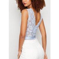 Pale Blue Contrast Lace Plunge Bodysuit New Look