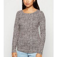 Petite White Leopard Print Ribbed Top New Look