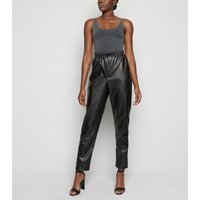 Tall Black Coated Leather-Look Joggers New Look