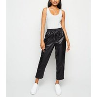 Petite Black Leather-Look Coated Joggers New Look