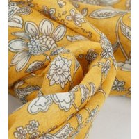 Yellow Floral Print Lightweight Woven Scarf New Look