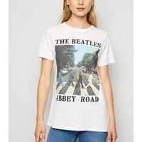 White The Beatles Abbey Road Slogan Rock T-Shirt New Look