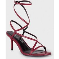 Red Leather-Look Strappy Mid Stiletto Heels New Look
