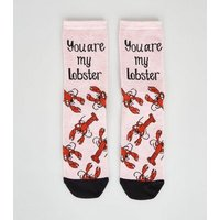 Pink You're My Lobster Friends Slogan Socks New Look