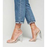 Silver Clear Strap Block Heels New Look